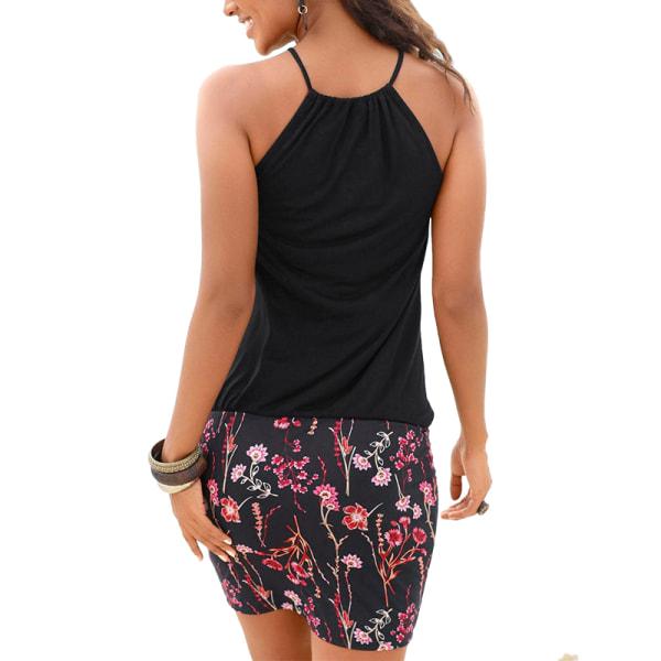 Summer Bohemian Ladies Short Skirt Beach Halter Dress black 2XL