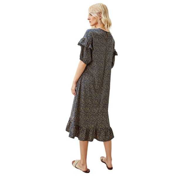 Temperament stor kjolklänning, kortärmad volangkjol