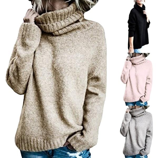 Turtleneck för kvinnor enfärgad huva med mjuk stickad tröja Kaki M