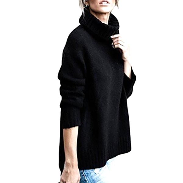 Turtleneck för kvinnor enfärgad huva med mjuk stickad tröja Svart XL
