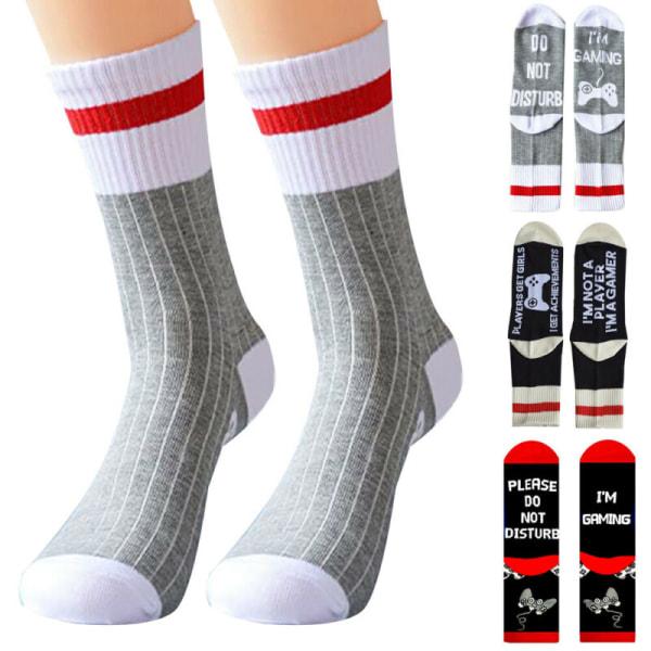 """Unisex Novelty Socks """"I'm Gaming _ Don't Disturb."""" Mjuka strumpor White & Grey"""