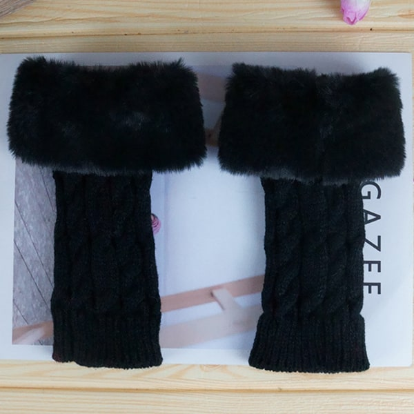 Kvinnans mode plysch Twist handskar Fingerless handskar black
