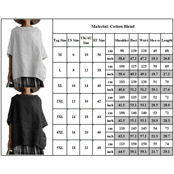Kvinnans retro enfärgad bomull och linne plus storlek T-shirt black 5XL