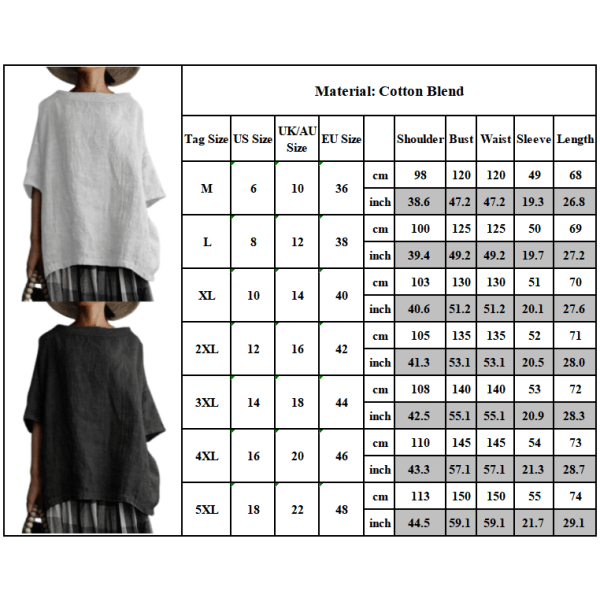 Kvinnans retro enfärgad bomull och linne plus storlek T-shirt white M