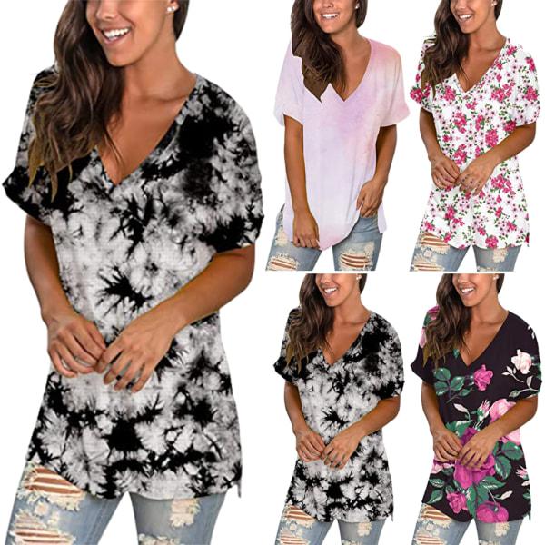Kvinnans retro-temperament tryckta V-ringade kortärmade T-shirt #1 L