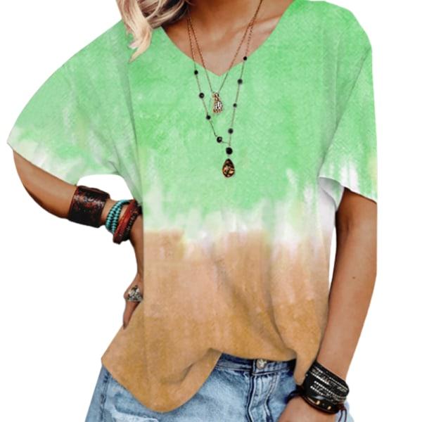 Kvinnans retro-temperament V-ringade gradient tie-dye korta ärmar green 2XL