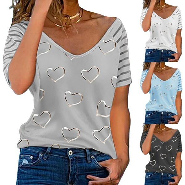 Kvinnans retro-temperament V-ringade kärlekstryck korta ärmar white XL