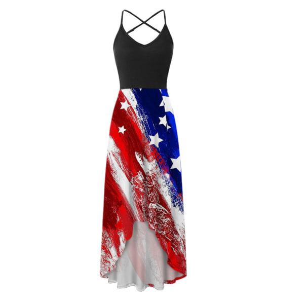 Kvinnans temperament mid-längd kjol _ tryckt retro klänning Right twill M