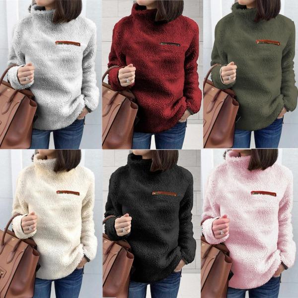Woman's zipper turtleneck sweater European style top sweater pink 2XL