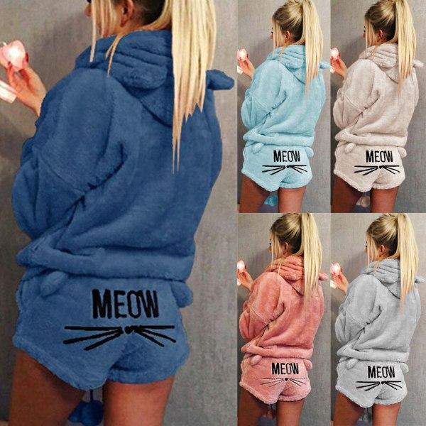 Kvinnors söta flanellkatt broderade pyjamaset Hoodie Set Himmelsblå 2XL