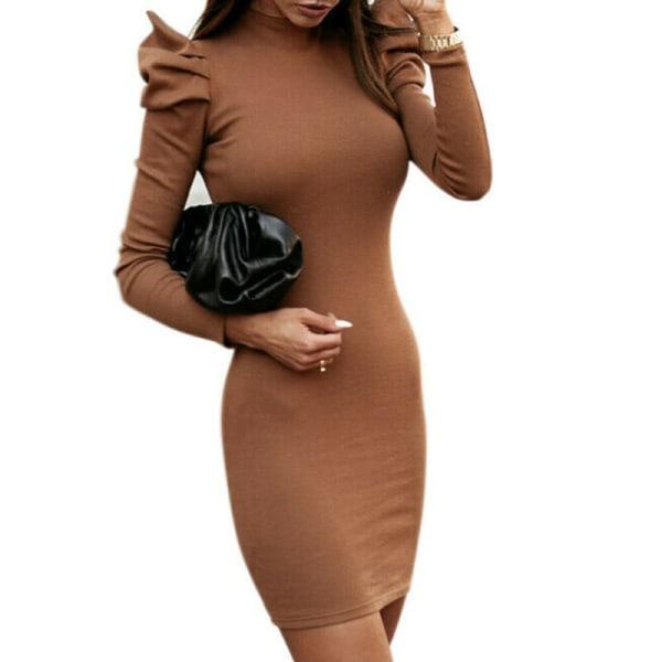 Kvinnor Bodycon Mini klänning Puffärm Wrap Party Aftonklänningar Black S