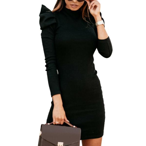 Kvinnor Bodycon Mini klänning Puffärm Wrap Party Aftonklänningar Khaki XL
