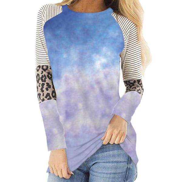 Kvinnor Casual Hot Sale Mode Leopard Print Tie-dye Långärmad blue 4XL