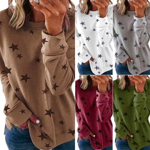 Kvinnor Casual Loose Five Stars Printed Shirt