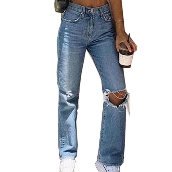 Kvinnor Casual Rippade knähål Denim hög midja nödställda jeans