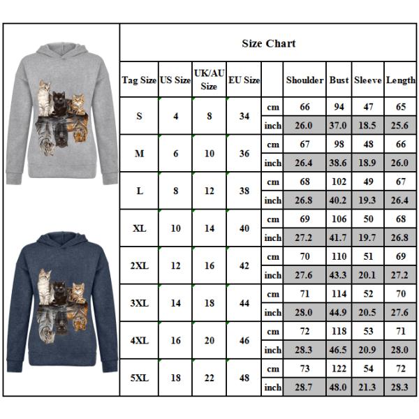 Women Cat Print Hoodie Sweatshirt Long Sleeve Casual Jumper Tops Blue 4XL