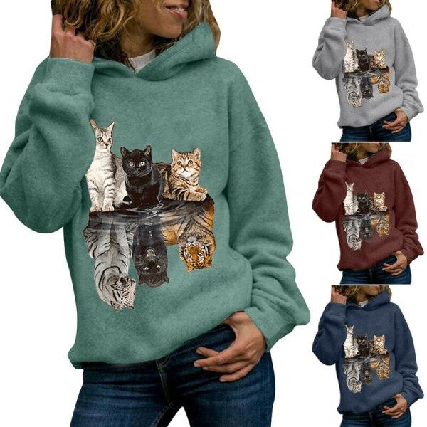 Women Cat Print Hoodie Sweatshirt Long Sleeve Casual Jumper Tops Grey S