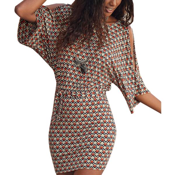 Kvinnor Cold Shoulder Mini Dress Slim Summer Party Holiday Bodycon Orange & White L