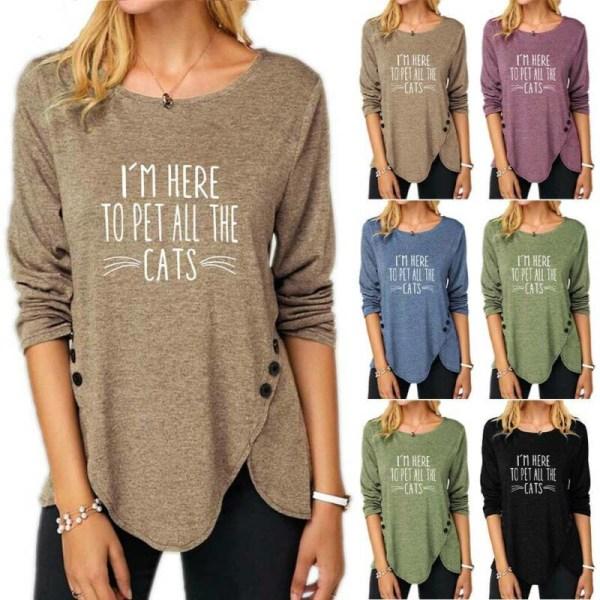 Kvinnor Crew Neck Print Top Casual långärmad fållknapp T-shirt