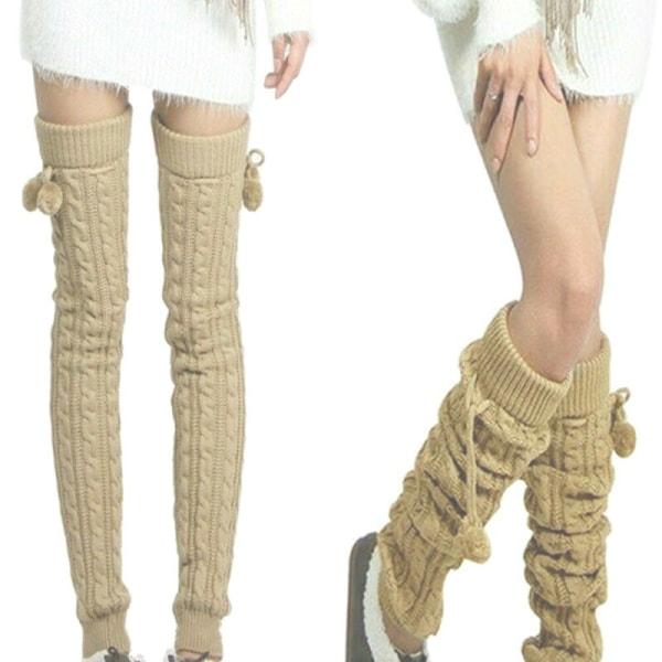 Kvinnor virkad stickad strumpa vinterknävärmare långa strumpor Light Grey