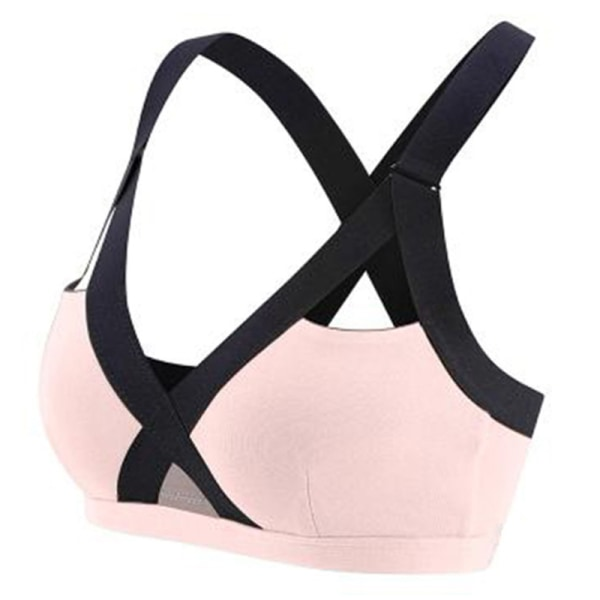 Träningssport-bh för kvinnor, cross-back support gym crop top rosa 3XL
