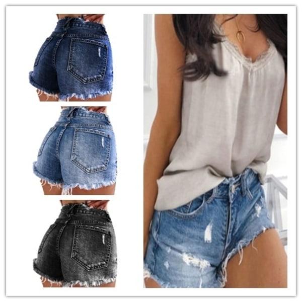 Kvinnors jeans jeans tofs shorts dam sommar gray S