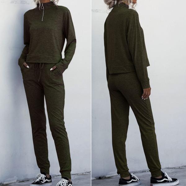 Kvinnamode långärmad träningskläder dragkedja sportdräkt grey L