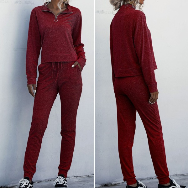 Kvinnamode långärmad träningskläder dragkedja sportdräkt red S
