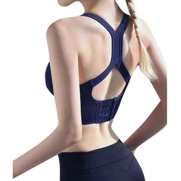 Kvinnas tillbaka yogaunderkläder för skönhet, sportunderkläder blå M