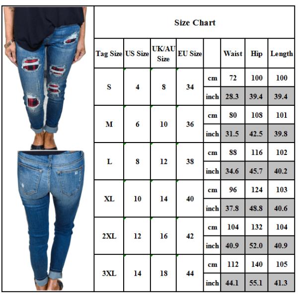 Kvinnor Frayed Denim Jeans Casual Jogger Slim Skinny Byxor Red M
