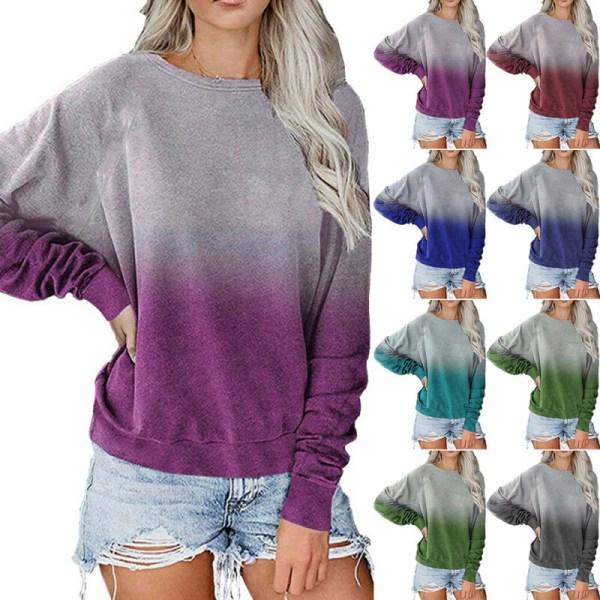 Kvinnor Gradient Långärmad T-shirt Fritidsblusströja