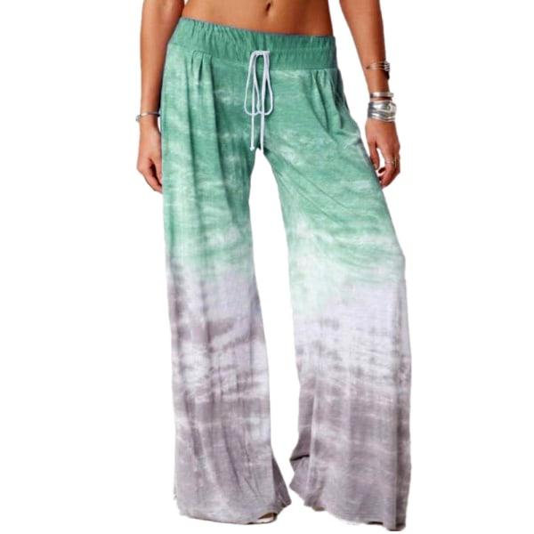 Kvinnor Gradient Wide Leg Long Loose Palazzo Casual Baggy Pants Green 2XL