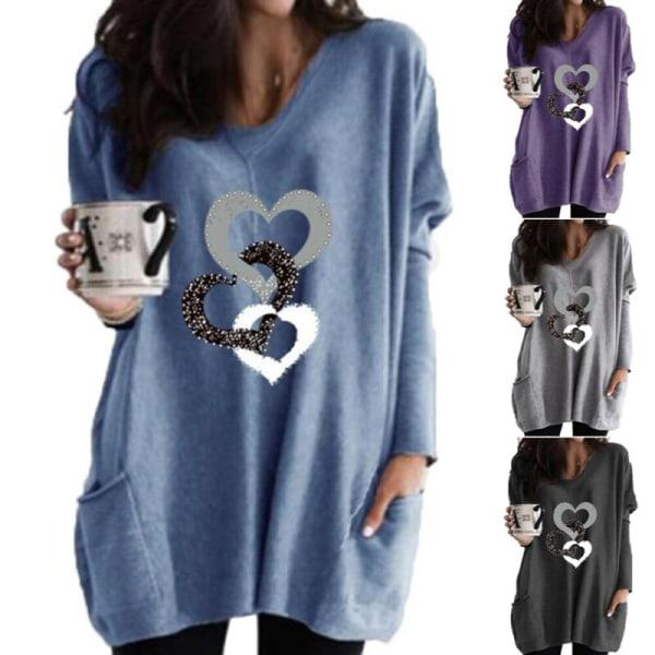 Kvinnor Hjärttryck V-ringning Långärmad T-shirt Pocket Top Winter