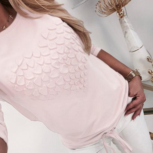 Kvinnor hjärtformad rund hals långärmad pink XL