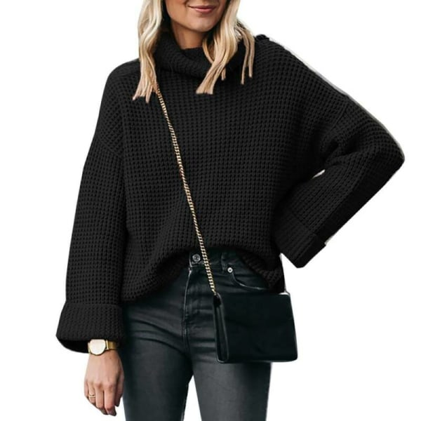 Kvinnor hög hals långärmad tröja tröja tröja Black 3XL