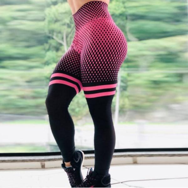 Women High Waisted Yoga Leggings Sports Push Up Pants Running Rose red L