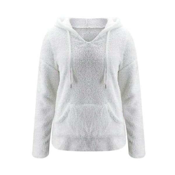 Dam Hooded Pullover Toppar Långärmad Blus Höst Vinterrock White XL