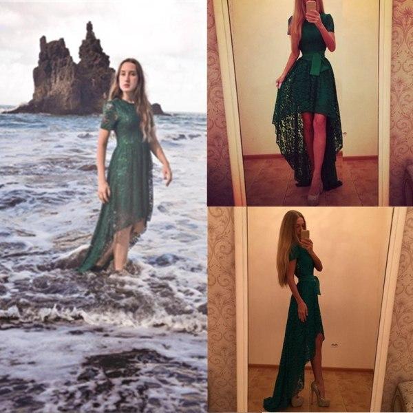 Kvinnors oregelbundna spetsklänningar i nederkant Vestidos sommar