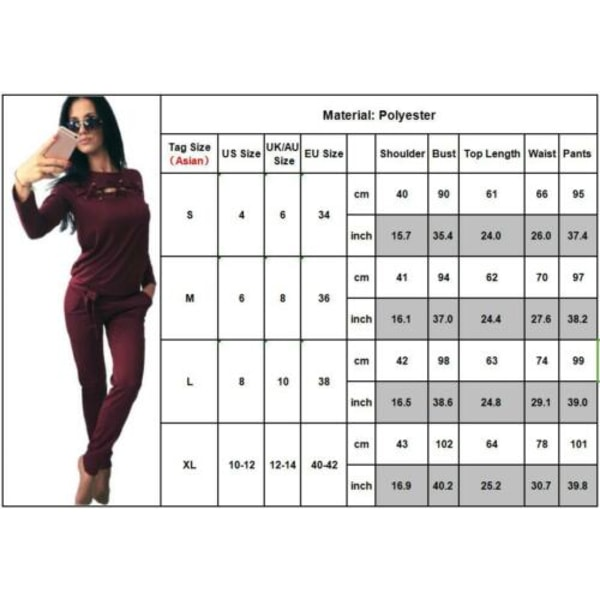 Kvinnor snörning långärmad träningsoverall Jogger tröja byxor