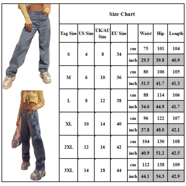Kvinnor damer lösa jeans jeansbyxor Casual benbyxor byxor Blue M