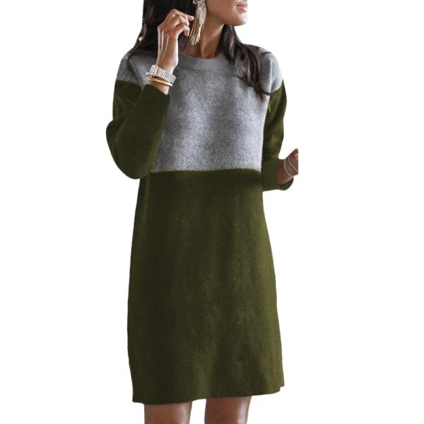 Kvinnor långärmad stickad skiftklänning vinter patchwork kläder Army Green S