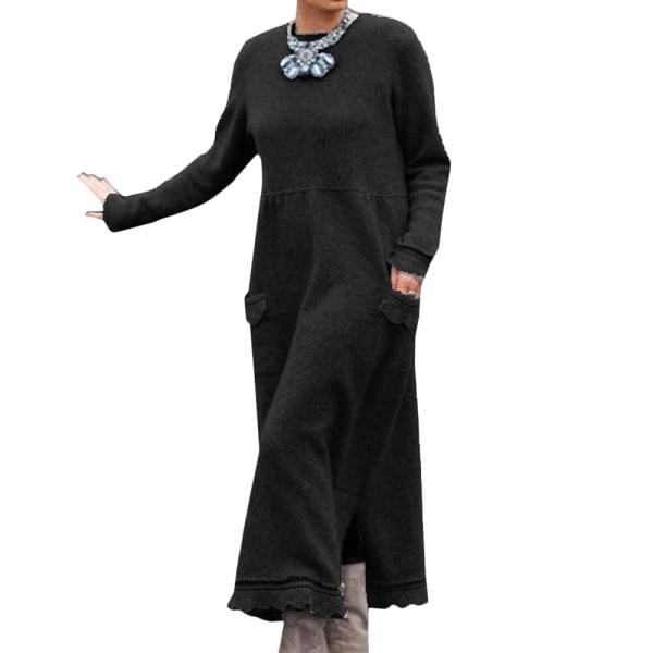 Kvinnor långärmad spetströja Kaftan Abaya Flare Maxiklänning Black S