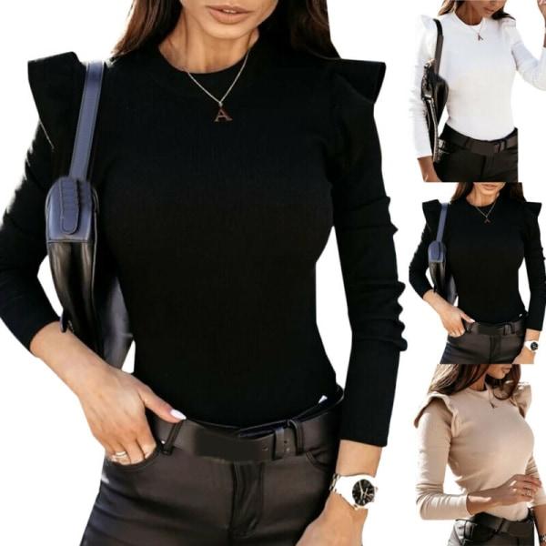 Kvinnor Långärmad Slim T-shirt Jumper Basic Tee Casual Blus Black XL