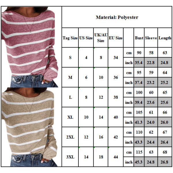 Kvinnor långärmad T-shirt randig Crew Neck Tee blus höst Khaki 3XL