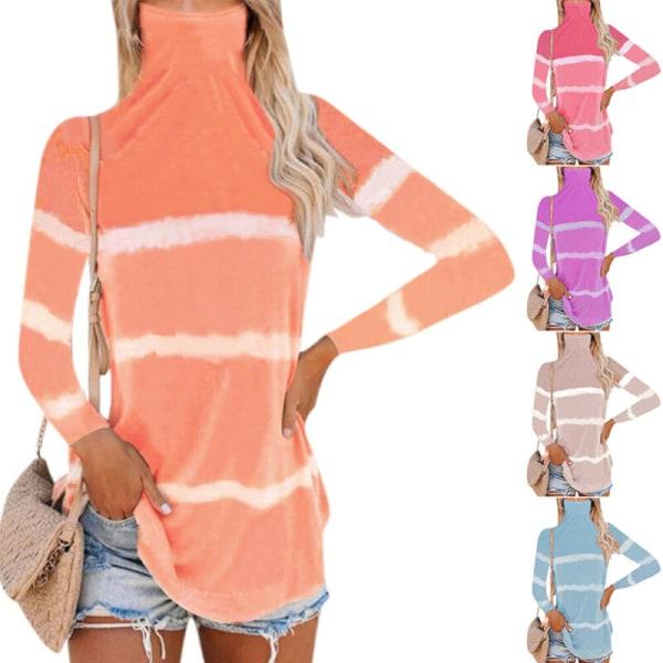 Kvinnor långärmad tunika med hög krage randigt tryck toppblus Khaki 5XL
