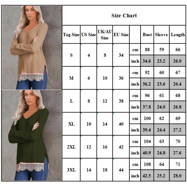 Kvinnor långärmad v-ringad spets patchwork sida split stickad tröja