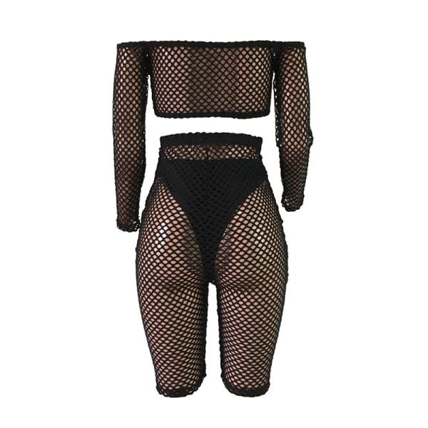 Women Nightclub Fishnet Mesh Design High black 3XL