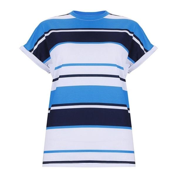 Europeisk och amerikansk randig t-shirt för kvinnor blue L