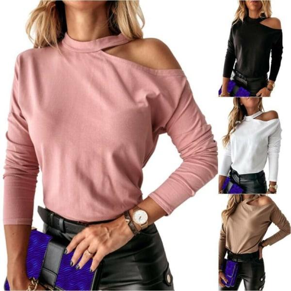 Kvinnor Off Shoulder Halter Vanligt Långärmad Casual Top Blus Dark Khaki L