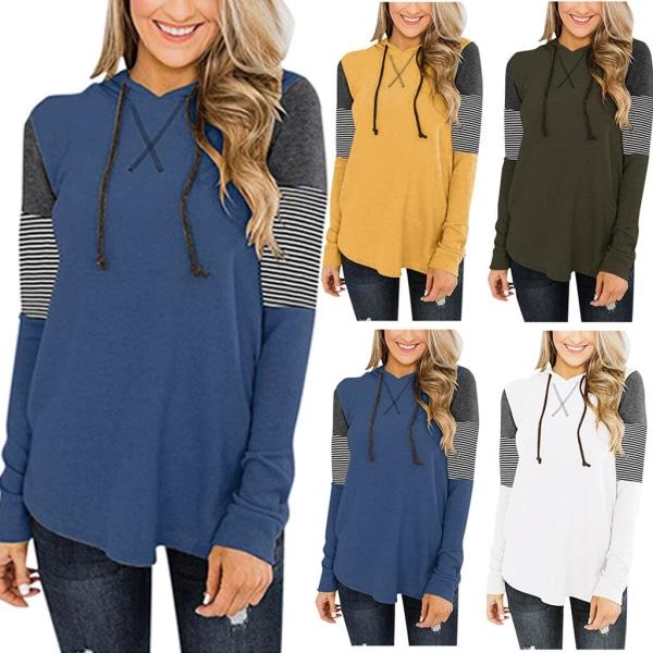 Dam Patchwork Hooded T-shirt, T-shirt med luva för kvinnor Blue XL